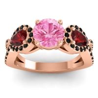 Three Stone Pave Varsa Pink Tourmaline Ring with Garnet and Black Onyx in 14K Rose Gold