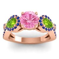 Three Stone Pave Varsa Pink Tourmaline Ring with Peridot and Blue Sapphire in 18K Rose Gold