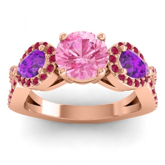 Pink Tourmaline Three Stone Pave Varsa Ring with Amethyst and Ruby in 18K Rose Gold
