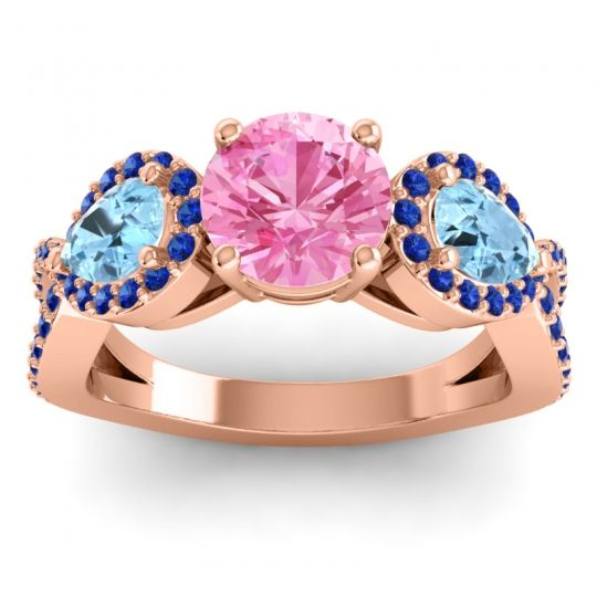 Pink Tourmaline Three Stone Pave Varsa Ring with Aquamarine and Blue Sapphire in 14K Rose Gold