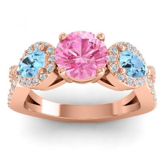 Pink Tourmaline Three Stone Pave Varsa Ring with Aquamarine and Diamond in 14K Rose Gold