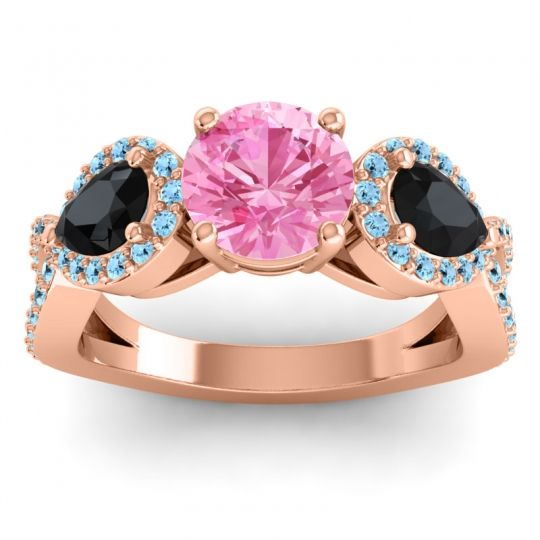 Pink Tourmaline Three Stone Pave Varsa Ring with Black Onyx and Aquamarine in 18K Rose Gold