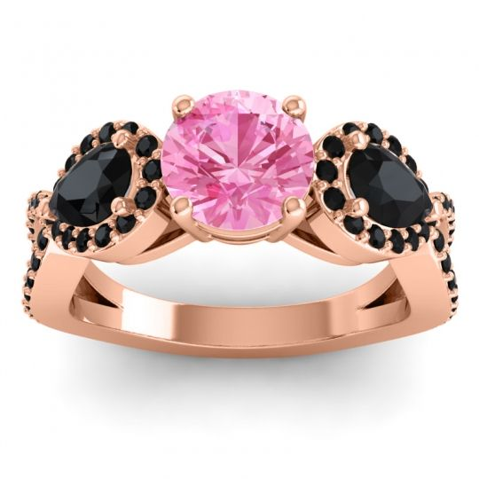 Pink Tourmaline Three Stone Pave Varsa Ring with Black Onyx in 18K Rose Gold
