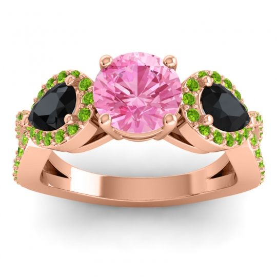 Pink Tourmaline Three Stone Pave Varsa Ring with Black Onyx and Peridot in 18K Rose Gold