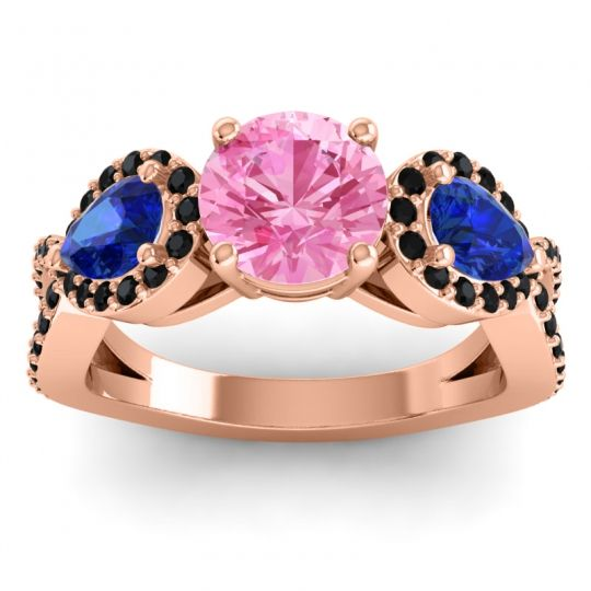 Pink Tourmaline Three Stone Pave Varsa Ring with Blue Sapphire and Black Onyx in 14K Rose Gold