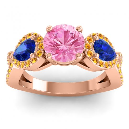Pink Tourmaline Three Stone Pave Varsa Ring with Blue Sapphire and Citrine in 14K Rose Gold