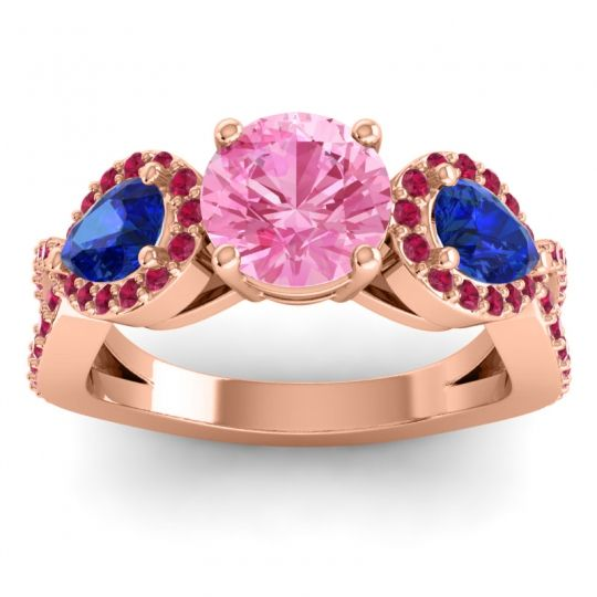 Three Stone Pave Varsa Pink Tourmaline Ring with Blue Sapphire and Ruby in 18K Rose Gold