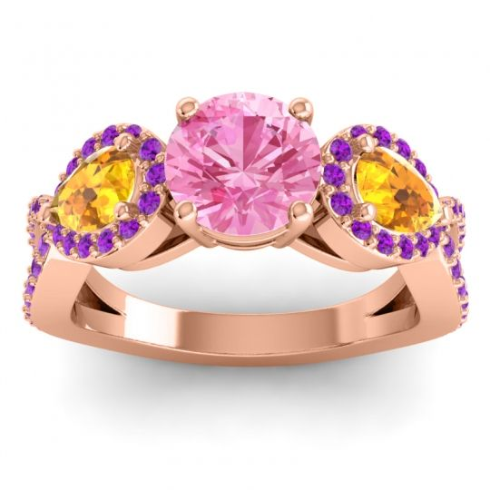 Pink Tourmaline Three Stone Pave Varsa Ring with Citrine and Amethyst in 14K Rose Gold