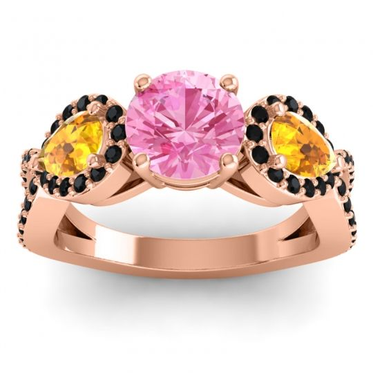 Pink Tourmaline Three Stone Pave Varsa Ring with Citrine and Black Onyx in 18K Rose Gold