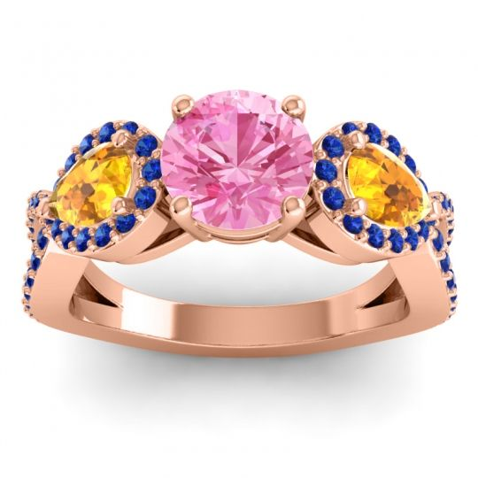 Pink Tourmaline Three Stone Pave Varsa Ring with Citrine and Blue Sapphire in 14K Rose Gold