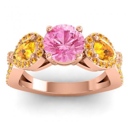 Pink Tourmaline Three Stone Pave Varsa Ring with Citrine in 14K Rose Gold
