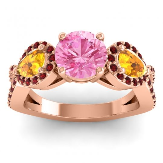 Three Stone Pave Varsa Pink Tourmaline Ring with Citrine and Garnet in 14K Rose Gold