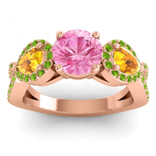 Pink Tourmaline Three Stone Pave Varsa Ring with Citrine and Peridot in 14K Rose Gold