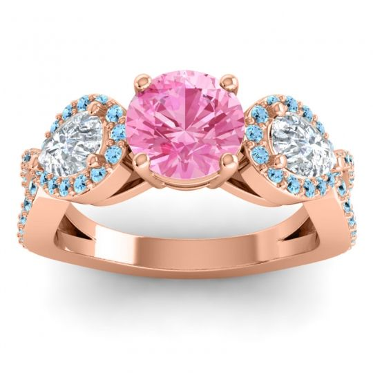 Pink Tourmaline Three Stone Pave Varsa Ring with Diamond and Aquamarine in 14K Rose Gold