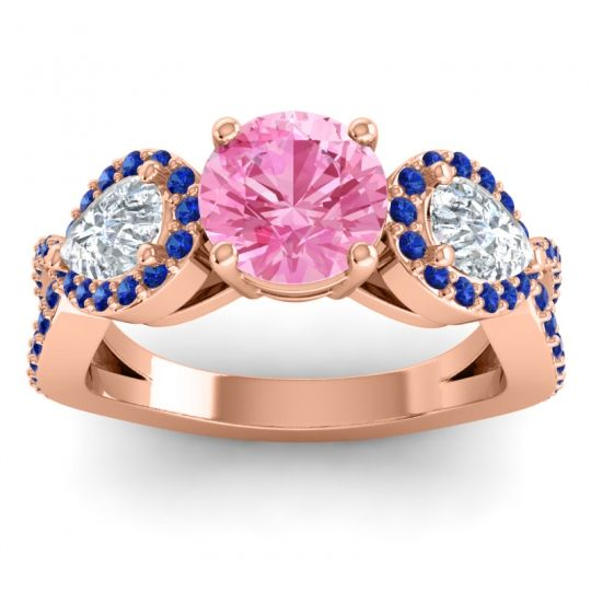 Pink Tourmaline Three Stone Pave Varsa Ring with Diamond and Blue Sapphire in 18K Rose Gold