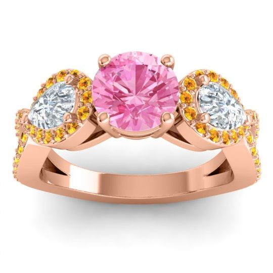 Pink Tourmaline Three Stone Pave Varsa Ring with Diamond and Citrine in 18K Rose Gold