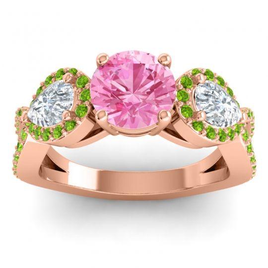 Pink Tourmaline Three Stone Pave Varsa Ring with Diamond and Peridot in 18K Rose Gold