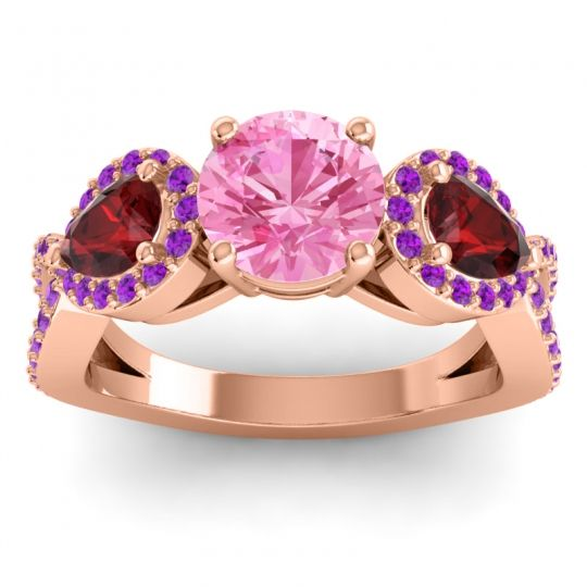 Three Stone Pave Varsa Pink Tourmaline Ring with Garnet and Amethyst in 14K Rose Gold