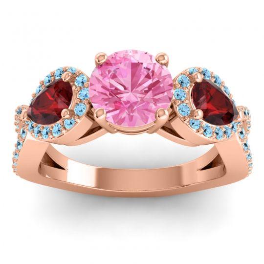 Pink Tourmaline Three Stone Pave Varsa Ring with Garnet and Aquamarine in 14K Rose Gold