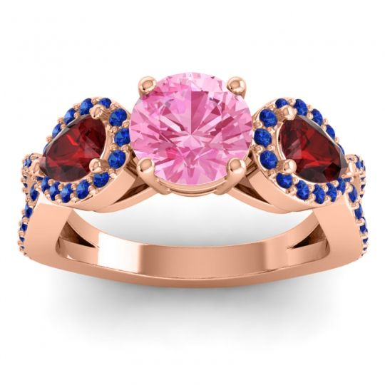 Three Stone Pave Varsa Pink Tourmaline Ring with Garnet and Blue Sapphire in 14K Rose Gold