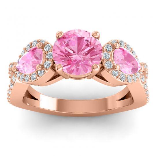 Pink Tourmaline Three Stone Pave Varsa Ring with Diamond in 14K Rose Gold