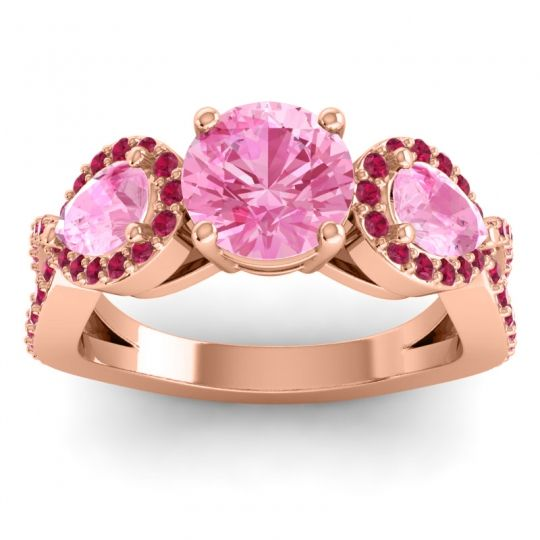 Three Stone Pave Varsa Pink Tourmaline Ring with Ruby in 14K Rose Gold