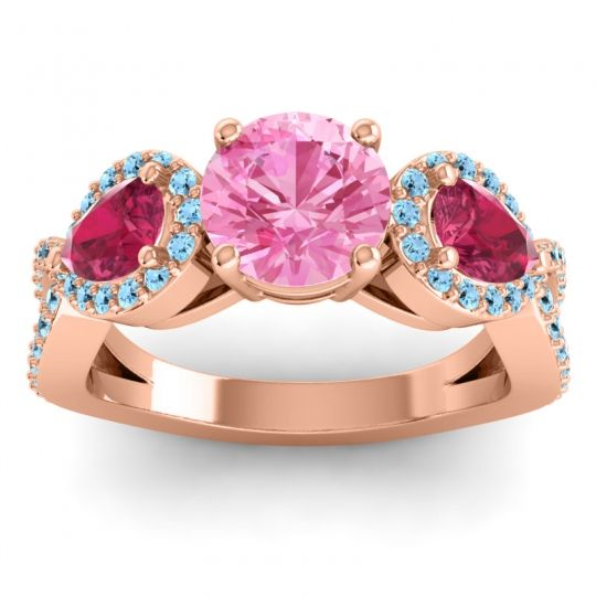 Pink Tourmaline Three Stone Pave Varsa Ring with Ruby and Aquamarine in 14K Rose Gold