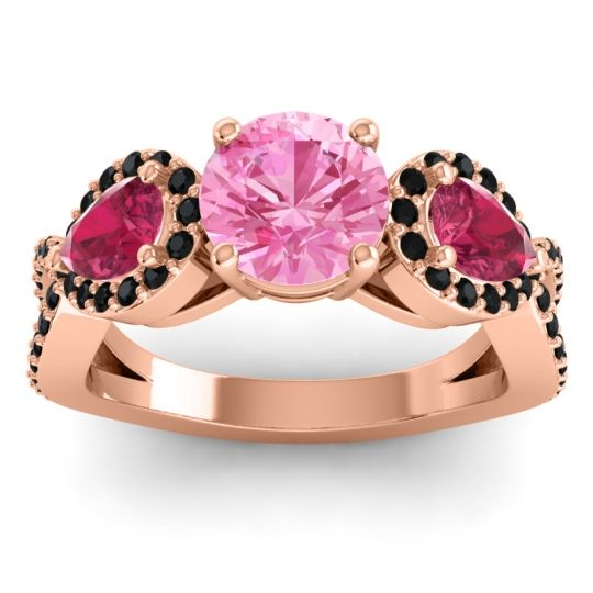 Pink Tourmaline Three Stone Pave Varsa Ring with Ruby and Black Onyx in 18K Rose Gold