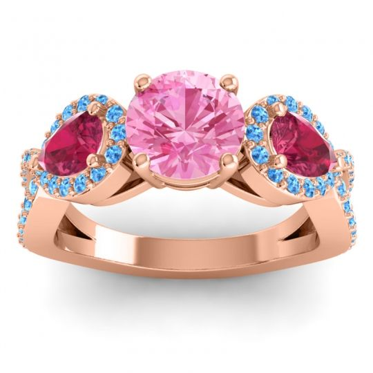 Three Stone Pave Varsa Pink Tourmaline Ring with Ruby and Swiss Blue Topaz in 18K Rose Gold