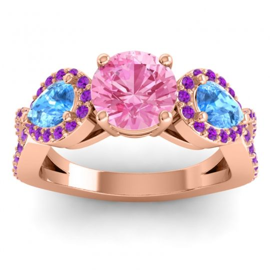Pink Tourmaline Three Stone Pave Varsa Ring with Swiss Blue Topaz and Amethyst in 18K Rose Gold
