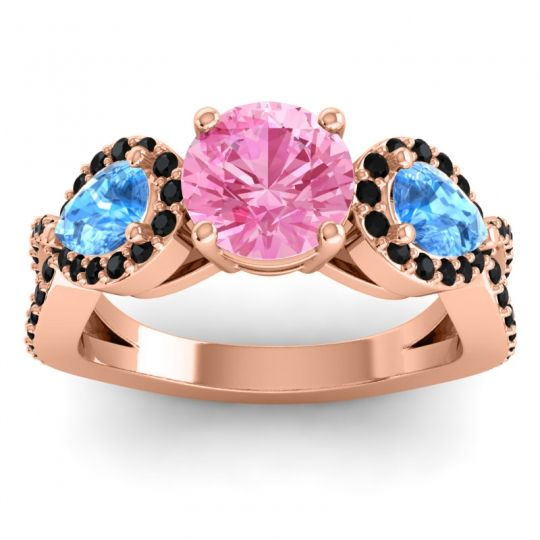 Pink Tourmaline Three Stone Pave Varsa Ring with Swiss Blue Topaz and Black Onyx in 14K Rose Gold