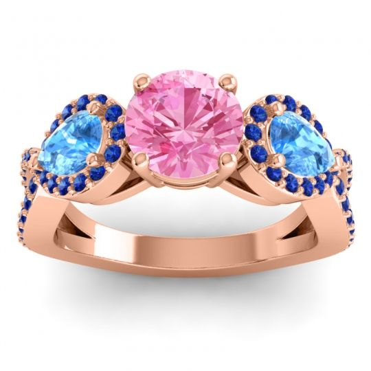 Pink Tourmaline Three Stone Pave Varsa Ring with Swiss Blue Topaz and Blue Sapphire in 18K Rose Gold