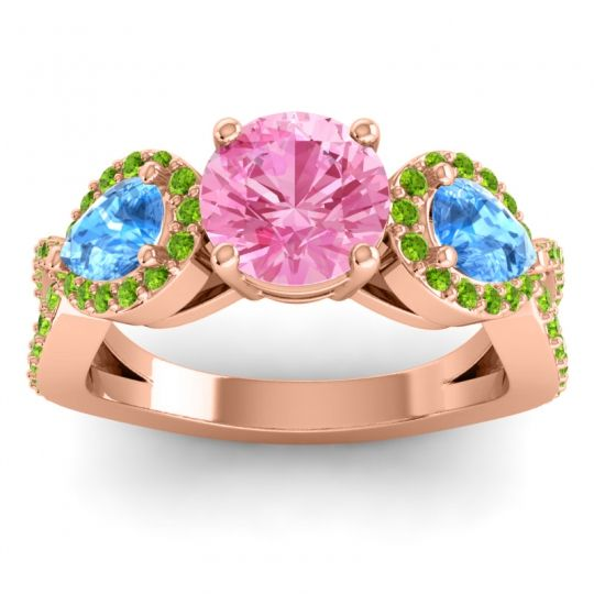 Pink Tourmaline Three Stone Pave Varsa Ring with Swiss Blue Topaz and Peridot in 14K Rose Gold