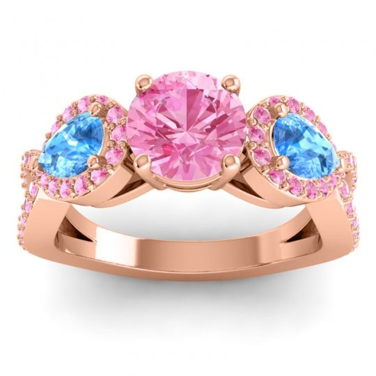 Pink Tourmaline Three Stone Pave Varsa Ring with Swiss Blue Topaz in 14K Rose Gold