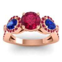 Three Stone Pave Varsa Ruby Ring with Blue Sapphire in 18K Rose Gold