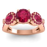 Three Stone Pave Varsa Ruby Ring in 14K Rose Gold
