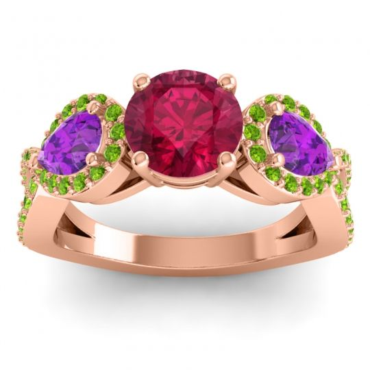 Three Stone Pave Varsa Ruby Ring with Amethyst and Peridot in 18K Rose Gold