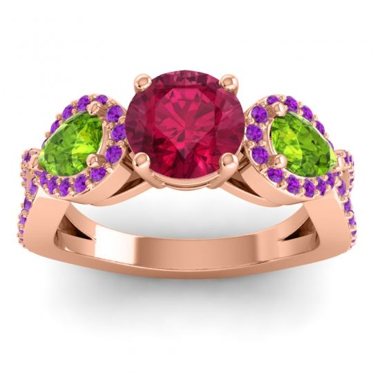 Three Stone Pave Varsa Ruby Ring with Peridot and Amethyst in 14K Rose Gold