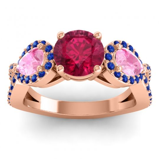 Three Stone Pave Varsa Ruby Ring with Pink Tourmaline and Blue Sapphire in 18K Rose Gold