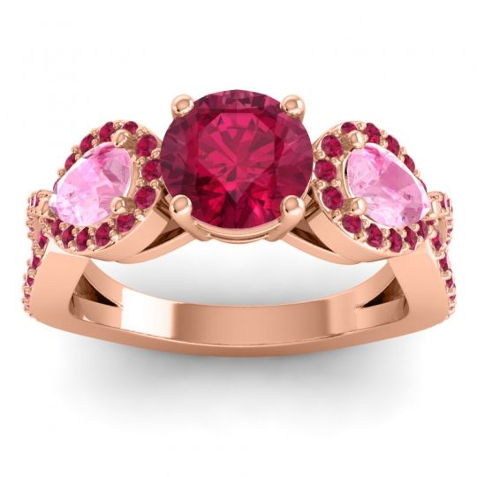 Three Stone Pave Varsa Ruby Ring with Pink Tourmaline in 14K Rose Gold