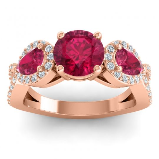 Three Stone Pave Varsa Ruby Ring with Diamond in 14K Rose Gold