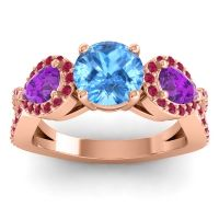 Three Stone Pave Varsa Swiss Blue Topaz Ring with Amethyst and Ruby in 18K Rose Gold