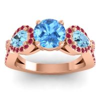 Three Stone Pave Varsa Swiss Blue Topaz Ring with Aquamarine and Ruby in 14K Rose Gold