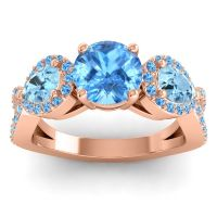 Three Stone Pave Varsa Swiss Blue Topaz Ring with Aquamarine in 14K Rose Gold
