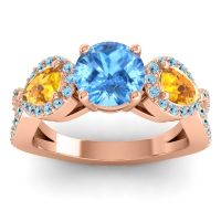 Three Stone Pave Varsa Swiss Blue Topaz Ring with Citrine and Aquamarine in 14K Rose Gold