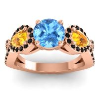 Three Stone Pave Varsa Swiss Blue Topaz Ring with Citrine and Black Onyx in 14K Rose Gold