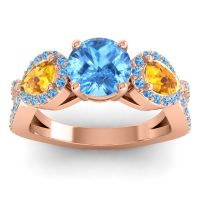 Three Stone Pave Varsa Swiss Blue Topaz Ring with Citrine in 14K Rose Gold
