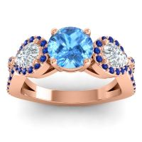 Three Stone Pave Varsa Swiss Blue Topaz Ring with Diamond and Blue Sapphire in 14K Rose Gold