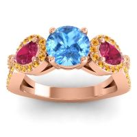 Three Stone Pave Varsa Swiss Blue Topaz Ring with Ruby and Citrine in 14K Rose Gold