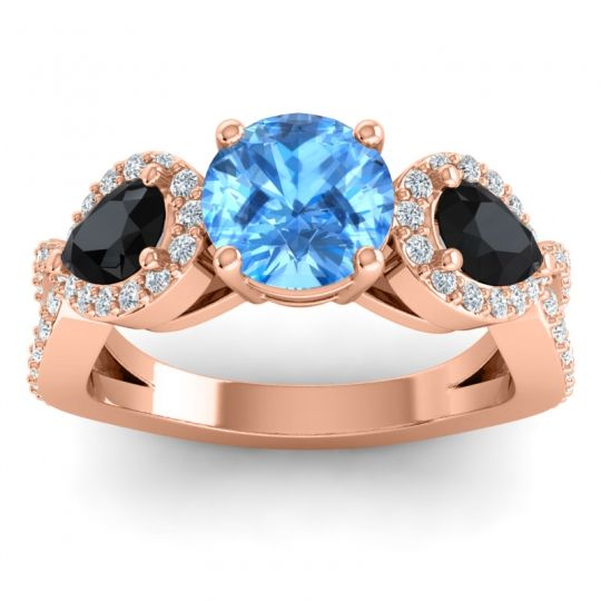 Three Stone Pave Varsa Swiss Blue Topaz Ring with Black Onyx and Diamond in 14K Rose Gold
